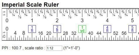 virtual engineer scale ruler imperial units  ft yd mi