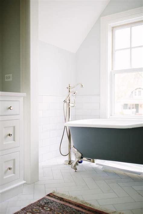 long bathroom  carrera marble hexagon tiles  gray