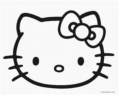 Kitty Hello Coloring Pages Easy Face Animals