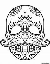 Coloring Skull Pages Sugar Mustache Calavera Printable sketch template