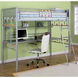Powell Bauble Girls Twin Metal Loft Bed With Study Desk ...