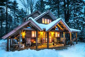 Beautiful Cabins in the Woods with Snow