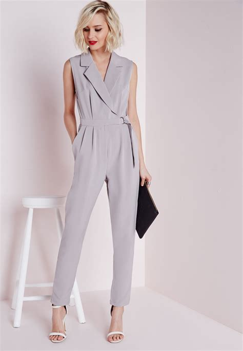 wrap jumpsuit plunge d ring wrap jumpsuit grey