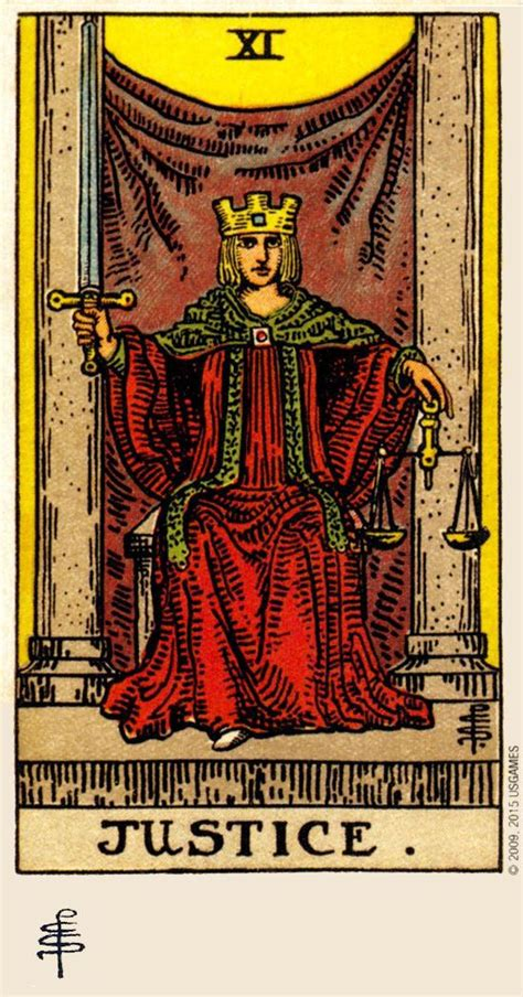 Detailed tarot card meaning for the hermit including upright and reversed card meanings. XI. Justice - Rider Waite Smith Tarot (Pamela C. Smith & A.E. Waite) | Justice tarot, Tarot card ...