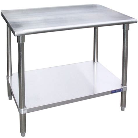 stainless steel work table with two shelves sg2460 24 quot d x 60 quot l stainless steel work table w under