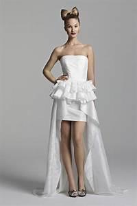 short strapless wedding dress with long train sang maestro With short strapless wedding dresses