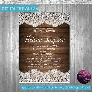 bridal shower invitation quotrustic wood lacequot printable With lace wedding shower invitations