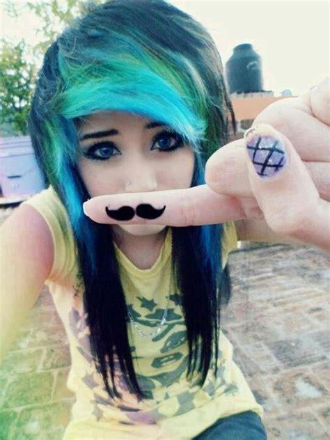 Emo Girl Black Blue And Green Hair Blue Eyes Emos