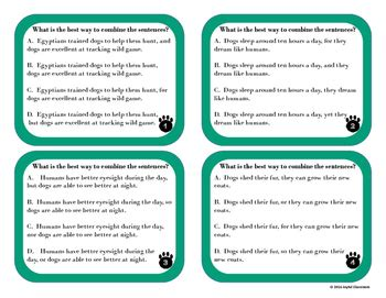 combining sentences  fanboys task cards  dogs