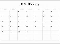 January 2019 Calendar A4 Printable Template Download May
