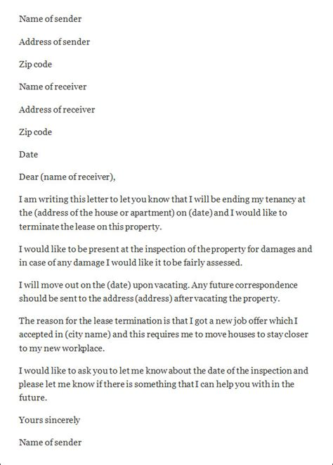 early lease termination letter termination letter sle termination letter sle