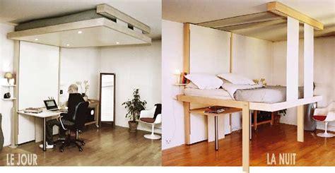 lit mezzanine avec canapé convertible bedup le lit escamotable qui grimpe au plafond