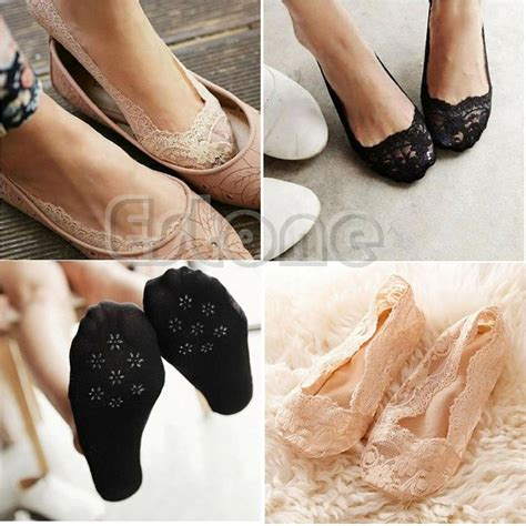 fashion s lace antiskid invisible low cut socks toe ankle sock skidproof ebay
