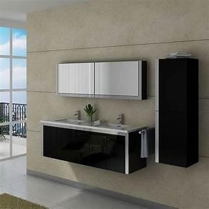 Dis025 1500n meuble salle de bain noir design et armoires for Porte de douche coulissante avec meuble salle de bain double vasque noir