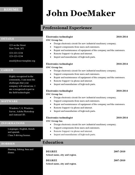 Free Word Resume Templates 2015 by Cv Resume Template Microsoft Word