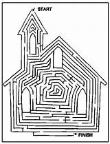 Church Coloring Pages Mazes Printable Activity Bible Way Maze Cathedral Printables Activities Sunday Colouring Sheets Children Christian Fun Worksheets Crafts sketch template