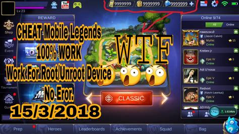 New Cheat Mobile Legends No Root/ Root 100%work 1.2.80