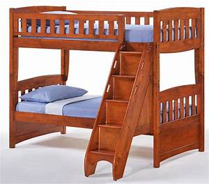 Fabulous Chocolate Twin Over Queen Bunk Bed With Stairs ...