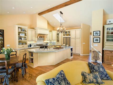 open kitchen  vaulted ceiling  large island hgtv