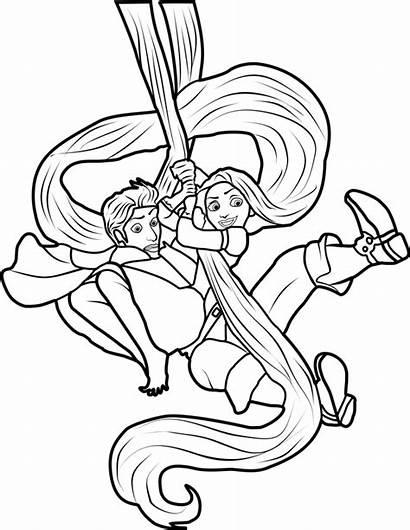 Rapunzel Tangled Flynn Coloring Swinging Pages Disney