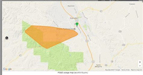 power outage  atascadero reported due  fallen tree