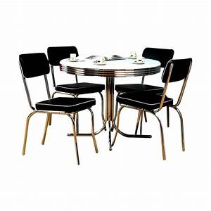 Shop tms furniture retro black dining set with round for Furniture for kitchen diner