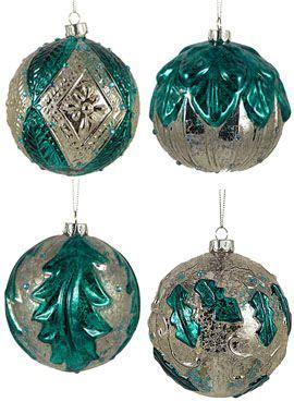 teal blue silver mercury glass antique christmas ornament