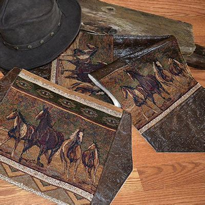 western wild horses table runners placemats