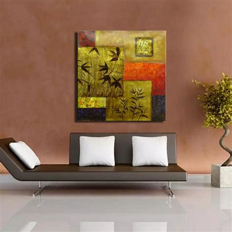 wholesale price gold color leaves and geometric wall painting modern