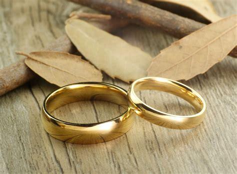 handmade gold dome plain matching wedding bands couple