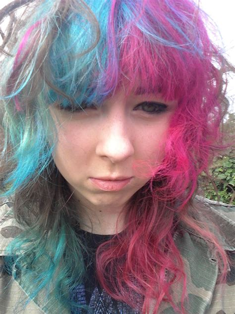 Half Pink And Blue Hair Dyed Hair And Pastel Hair Hair
