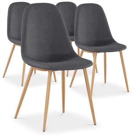 chaise de clean lot de 4 chaises scandinaves gao tissu gris meubles