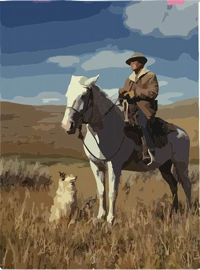 Cowboy Dog Horse Clip Clker Sheep Domain
