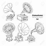 Player Record Drawing Getdrawings Gramophone sketch template