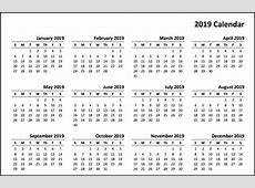 2019 Calendar Template In PDF, Excel, Word Format Best