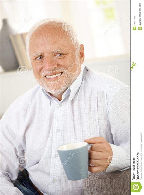 Smiling Old Man Having Coffee Stock Image  Image Of Good