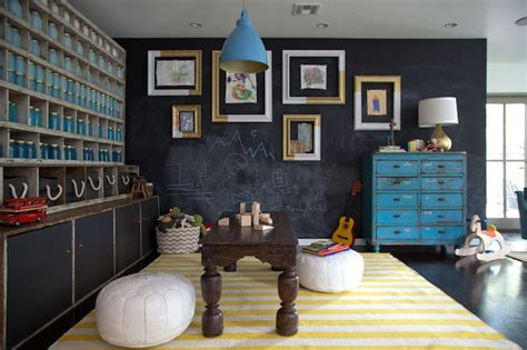 chalkboard accent wall eclectic boys room eric