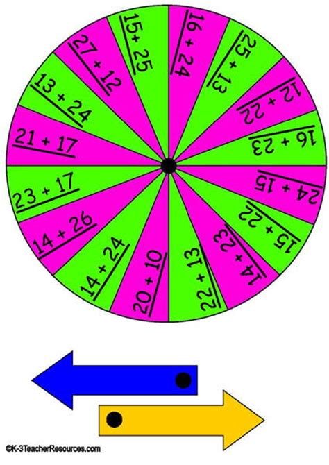 printable maths games spinners