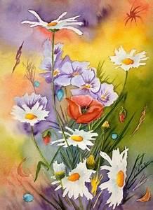 Peindre Au Pastel : fleurs aquarelles acryliques pastels secs dans les champs aquarelle vos fleurs en peinture ~ Melissatoandfro.com Idées de Décoration