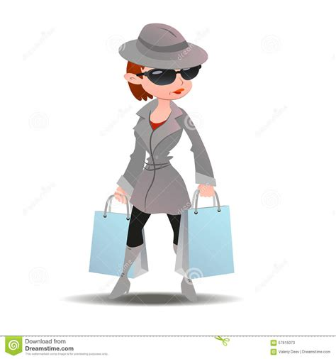 Mystery Shopper Woman In Spy Coat With Shopping Paper Bags