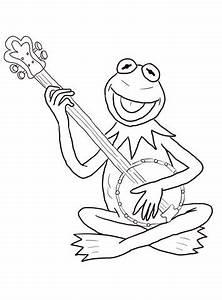 Kermit de Kikker speelt gitaar kleurplaat | Gratis ...