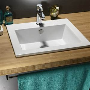 vasque a encastrer ceramique l50 x p43 cm blanc keo With salle de bain design avec vasque rectangulaire encastrable