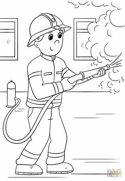 Firefighter Coloring Fire Pages Cartoon Firefighters Printable