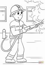 Firefighter Coloring Fire Pages Cartoon Firefighters Printable Thank Fighter Sheets Drawing Female Paper Colorings sketch template