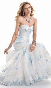 White wedding dress with blue accent royal blue yellow and for Blue dresses to wear to a wedding
