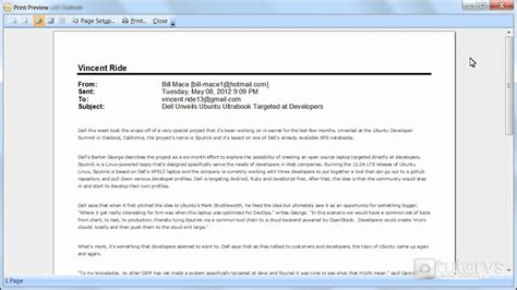 email print how to print an email with outlook 2007