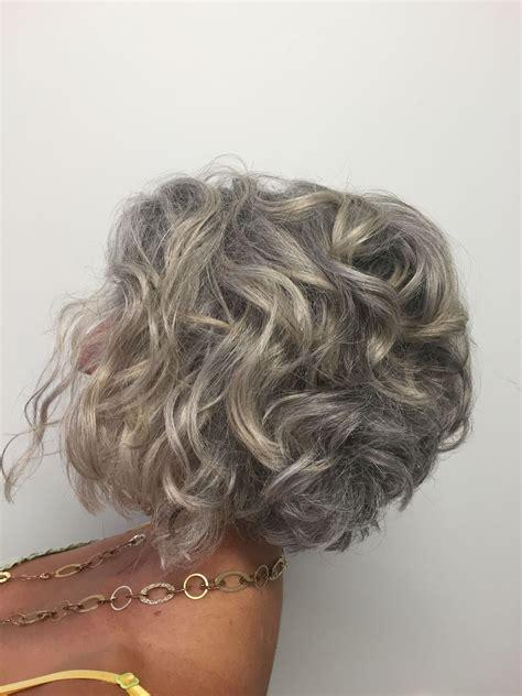 Short Curly Bob Transitioning To Grey Potential Hair