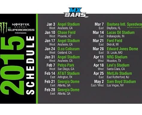 2015 ama motocross schedule 2015 monster energy supercross schedule annunciato