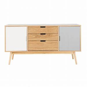 wooden vintage sideboard in white and grey w 145cm fjord With armoire maisons du monde