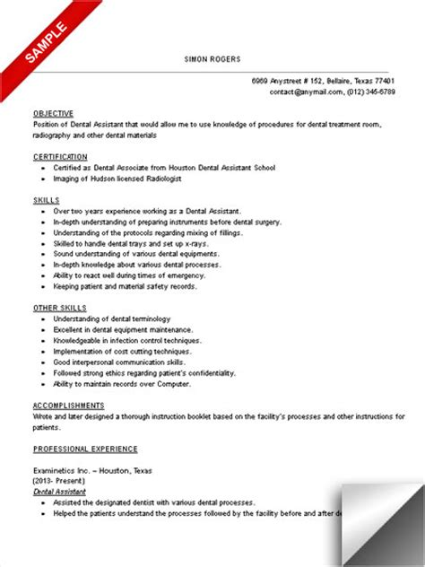 Certified Dental Assistant Resume Objective dental assistant resume sle